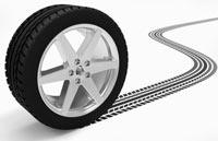 Illustration: Reifen mit Profilspur